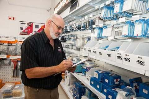 Man inside an electrical wholesalers store